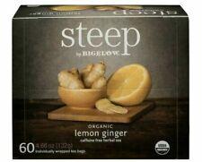 Organic Lemon Ginger Herbal Tea, 60 Tea Bags Steep By Bigelow Caffeine Free