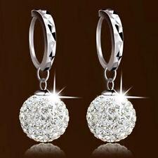 Luxury Women Ladies Crystal Rhinestone Big Beads Hoop Earrings Ear Studs Gift