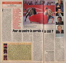 Coupure de presse Clipping 1992 Pour ou Contre la Corrida à la télé (1 page 1/2)