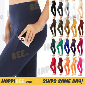 Womens Cotton Leggings POCKETS Full Length Thick Waistband Yoga Pants High Waist