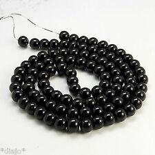 50 Glaswachsperlen 8mm schwarz glänzend Perlen Glasperlen