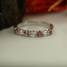 Ring Band 14k White Gold Gp Jewelry 0.70 Ct Pink and White Sapphire Anniversary