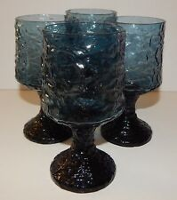 4 Lenox Impromptu Hand Blown Crystal Dark Blue Stemware Wine Glasses Goblets