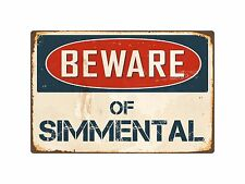 "Beware Of Simmental 8"" x 12"" Vintage Aluminum Retro Metal Sign VS390"