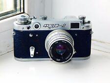 RARE Dark Blue FED-2 Soviet Film Camera (copy Leica) w/s lens industar 26M EXC