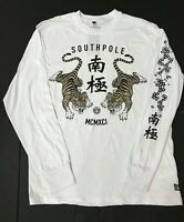 Southpole Mens Long Sleeve Tigers Graphic T Shirt Tee Size XL White New