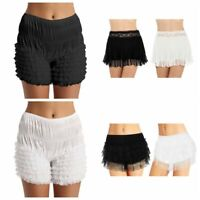 Women Bloomer Shorts Safety Pants Stretch Knicker Lace Ruffle Panties Underpants