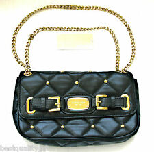 MICHAEL KORS HAMILTON QUILT BLACK LEATHER+GOLD STUD CLUTCH, SHOULDER,HAND BAG