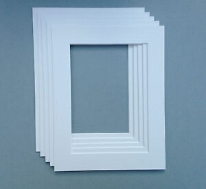 12 X 12 Inch White Mounts to fit 6 x 6 Picture or Photo - 5 PACK