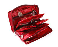 Indian Quilted Satin Fabric Women Maroon Jewellery Kit With Pouches Box Section