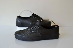 VANS AUTHENTIC BLACK ITALIAN LEATHER LACE UP CASUAL SNEAKER SHOES UK 4 RP £70.00