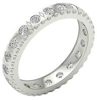 SI1 G 1.10 Carat Eternity Wedding Ring Natural Diamond 14K Solid Gold Bezel Set