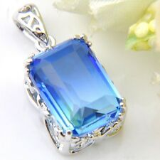 Best Summber Holiday Gift Blue Bi-Color Tourmaline Solid Silver Pendant Necklace