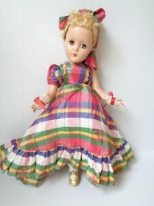 "1950s Arranbee R&B 14"" Nancy Lee in Original Plaid Formal Gown Dress Floss Hair"