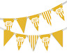 Happy 60th Birthday Polka Dot and Vintage Gold Pattern Bunting Banner 12 flags
