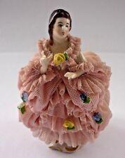 Vintage Porcelana de Dresden del Encaje Dama estatuilla en condiciones perfrct