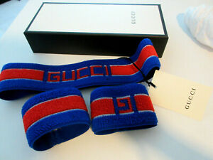 Gucci Headband Sweatband Tennis Web Blue Red Wristband Set in box size medium