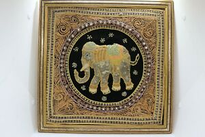 Old  Mandala Board with Thai embroidery and Elephant Luck Symbol