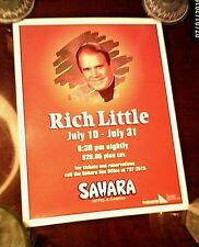 RICH LITTLE - Sahara Hotel LAS VEGAS showroom poster - 1992 - Rolled and MINT