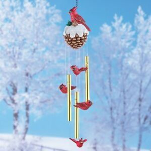 Musical Cardinals On Pinecone Christmas Wind Chime