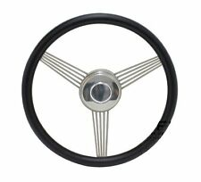 "14"" Black Banjo Steering Wheel W/ Stainless Steel Spokes and Horn Button GM Kit"