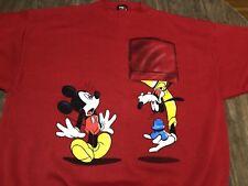 Vintage Disney Mickey Mouse Unlimited Goofy Upside Down  XL Red Sweatshirt