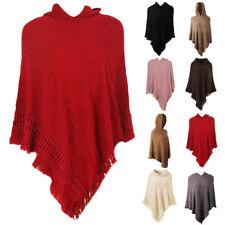 Women Winter Tassel Knit Woolen Cloak Hooded Sweater Poncho Cape Outwear Coat AU