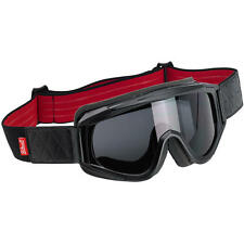 Biltwell Overland Motorcycle Vintage Retro Cafe Racer Riding Goggles - Black/Red