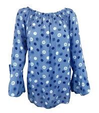 Bluse 40 42 M blau weiß Punkte Made in Italy Volant Ärmel Baumwolle blaue Bluse
