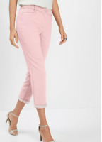 Bonprix Size 10 Pale Pink Bead Embellished Cropped Trousers BNWT