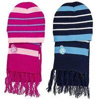 Childrens Beanie Hats Scarf Kids Boys Girls Stripes Cosy Stylish Winter Warm New