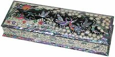 Mother of pearl Fountain pen stand pencil case box vase holder crane & pine tree