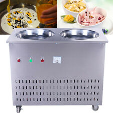 220V Fry Ice Cream Machine Stainless Steel Commercial Double Pan Fry Ice Machine