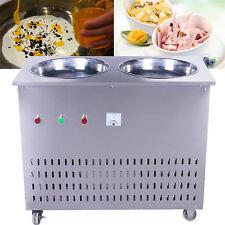 220V Multi-functional Ice Cream Roll Machine Double Pans Fry Ice Cream Machine