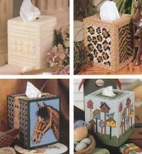 4 TISSUE BOX COVERS HORSE BIRDHOUSE SAFARI PLASTIC CANVAS PATTERN INSTRUCTIONS