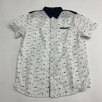 SSLR Button Up Shirt Men's Size Large Short Sleeve White Blue Casual 100% Cotton