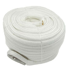 Anchor Rope 5/8 Inch 100 Feet Double Braided Nylon Rope with Thimble White
