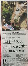 BENGHAZI 1996 - 2019 OBITUARY OAKLAND ZOO GIRAFFE ARTIST LOS ANGELES TIMES