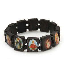Stretch Dark Brown Wooden Saints Bracelet / Jesus Bracelet / All Saints Bracelet