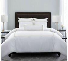 Wamsutta Hotel Triple Baratta Stitch Full/Queen Duvet Set in White/Honey