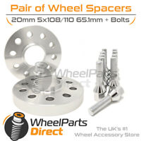 Wheel Spacers (2) & Bolts 20mm for Jeep Renegade 14-20 On Original Wheels