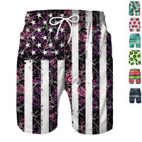 Mens Summer Beach Shorts Swim Trunks Quick Dry Mesh Lining Bathing Suits Printed