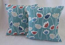 "16"" Cushion Cover Blue Orange Teal Terracotta Flower Print New Handmade 40cm"