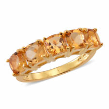 Citrine 5 Stone Ring in 14K Gold Overlay Sterling Silver 2.500 Ct. size N