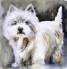 Acuarela * watercolor * Perro Whesty * Pintura original
