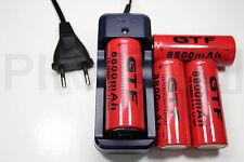 4 PILE RECHARGEABLE 8800mAh 26650 3.7V Li-ion BATTERIE BATTERY + CHARGEUR GTX-08