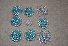 8 pcs 44mm crystal clear round metal rhinestone button snowflake baby blue round