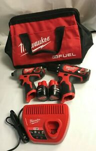 Milwaukee 2494-22 M12 3/8 in. Drill Driver and 1/4 in.Hex Impact Driver Kit LN