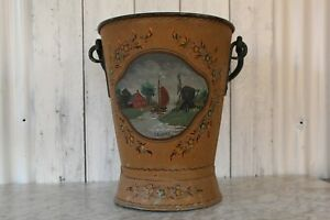 Vintage Large Dutch Zinc Hindeloppen Folk Art Toleware Log/Coal Bucket/Scuttle