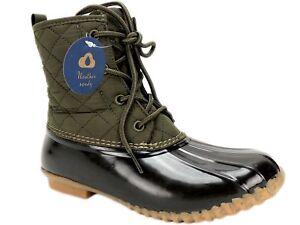 JBU Women's Stefani Duck Rain Boots Army Green/Brown Size 7 M